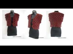 how to crochet flower red bolero shrug for beginners free pattern tutorial by marifu6a - YouTube