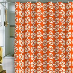 I pinned this Moroccan Mirage Shower Curtain in Orange from the Khristian A. Howell event at Joss and Main!