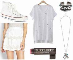 White paint splatter shirt, lace skirt, white converse shoes , silver necklace, zebra print bracelet