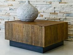 Contemporary coffee table in reclaimed wood LEBLON environment furniture