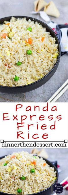 Panda Express Fried Rice Copycat Panda Express Fried Rice is the most popular side ordered and with good reason. Salty and savory, with veggies mixed in the rice is a great counterpart to your favorite two entree plate. Rice Dishes, Food Dishes, Panda Express Fried Rice, Panda Express Orange Chicken, Restaurant Recipes, Dinner Recipes, Panda Express Recipes, White Rice Recipes, Chinese White Rice Recipe