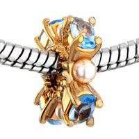 Pugster March Birthstone Aquamarine Crystal And Pearl Golden Style Pandora Gold Plated Beads $16.49