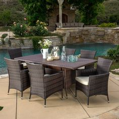Jennifer Outdoor Wicker Dining Set with Cushions by Christopher Knight Home (Multi-Brown), Brown, Size Sets, Patio Furniture Wicker Dining Set, Outdoor Dining Set, Outdoor Decor, Dining Sets, Patio Dining, Outdoor Living, Dining Tables, Outdoor Spaces, Outdoor Stuff