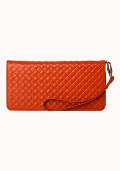 Lina Woven Effect Leather Wallet Orange