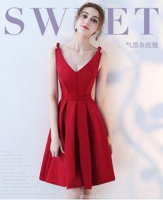 e0e1b9ee128 toast wear bride V collar Red wedding Evening Dresses female short slimming  home-backing engagement