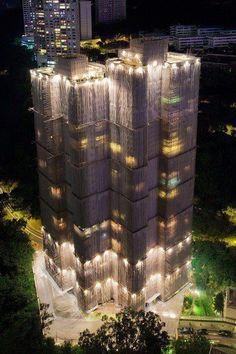 Amazing Snaps: Waterfall Building Cocooned Skyscraper Hong Kong.