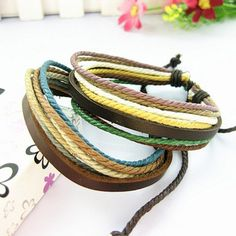 Two Pieces Genuine Leather Bracelet Braided Rope by Crosstichgirl, $8.99