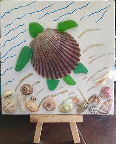 Sea glass sea turtle on canvas with easel mosaic art coastal Seashell Art, Seashell Crafts, Beach Crafts, Sea Glass Crafts, Sea Glass Art, Crafts For Seniors, Crafts For Kids, Teen Crafts, Seashell Projects