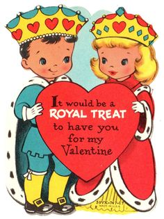King and Queen of Hearts Royal Treat to Be Mine Vintage Valentine Card