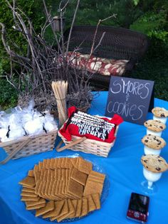 BBQ dessert table, s'mores station. For more great party ideas visit Get The Party Started - www.getthepartystarted.etsy.com