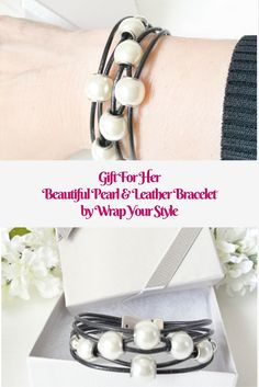 This great leather and pearls bracelet is romantic and bold. It makes a great gift for any special someone on your list.
