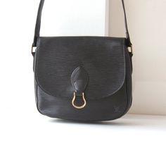 Louis Vuitton Bag Epi Black Saint Cloud MM Shoulder handbag purse authentic vintage by hfvin on Etsy  #LouisVuitton #Bag #Epi #Black #Saint #Cloud #MM #Shoulder #handbag  #hfvin