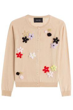 Merino Wool-Silk-Cashmere Cardigan with Floral Appliqué - Simone Rocha   WOMEN   US STYLEBOP.COM