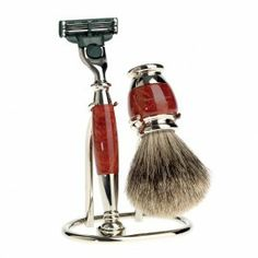 The Edwin Jagger Luxury Briar Wood Three-Piece Shaving Set is hand made with the finest detail. Set includes conventional Mach 3 razor with briar-wood handle and matching best badger briar-wood shaving brush and a stand for convenient display. Badger Shaving Brush, Shaving & Grooming, Beard Grooming, Grooming Kit, Shaving Set, Shaving Razor, Wet Shaving, Shaving Cream