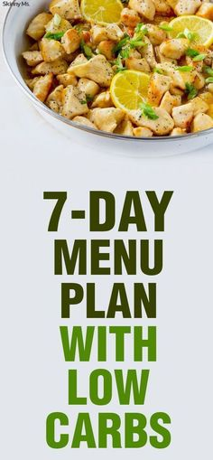7-Day Menu Plan With Low Carbs. Recipes include Avocado Breakfast Toast, Skinnylicious Protein Smoothie, Stuffed Philly Chicken Peppers, Clean-Eating Cobb Salad, plus more!
