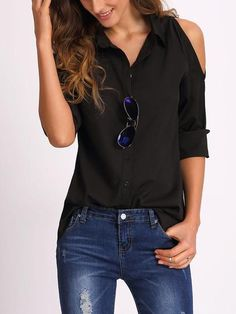 82760894c5503 Black Open Shoulder Blouse