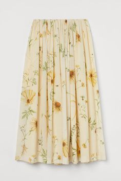 Gedrapeerde tubetop - Lichtgeel/bloemen - DAMES   H&M NL Hm Outfits, Meadow Flowers, Wild Flowers, Calf Length Skirts, Flare Skirt, Skirt Pants, Neue Trends, Print Design, Organic Cotton