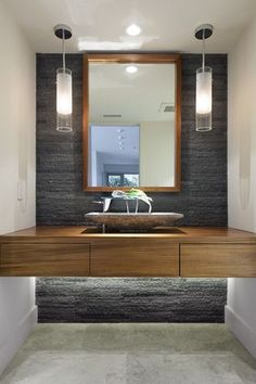 """Contemporary Powder Room with Pendant Light, Vessel Sink, RONBOW Rebecca 64"""" Double Vanity Undermount, Wood counters, Flush"""