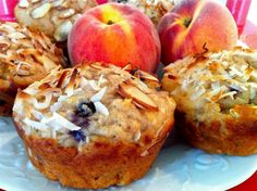 Peach & Blueberry Yogurt Muffins -- healthy, hearty, and loaded with protein…and one batch yields 20 muffins!