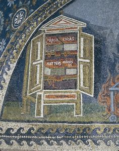 Detail of a mosaic representing a cabinet containing the gospels (mosaic). Paleo-Christian, (4th century). also known as the Mausoleum of Galla Placidia; UNESCO World Heritage Site; Oratorio di Galla Placidia, Ravenna, Italy