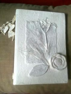 Shabby chic journal with burlap, grasses and paper beads