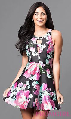 Black Floral-Print A-Line Short Homecoming Dress at PromGirl.com