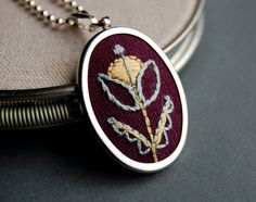 Embroidered Pendant Necklace Mint and Honey Blossom on Plum Linen