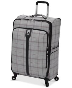 "London Fog Knightsbridge 25"" Expandable Spinner Suitcase, Available in Brown and Navy Glen Plaid, Macy's Exclusive Colors"
