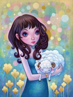 "Sleepy Sheep, 9""x12"" Acrylic on wood. For ""The Year of the sheep"" show at   Wrong Gallery in Taipei.  ©Jeremiah Ketner 