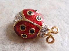 Swarovski Brand Ladybug Brooch Crystal Black Red by cutterstone, $55.00