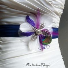 COLWELL - Peacock Feather Wedding Sash Bridal Belt in Navy Blue Peacock and Purple