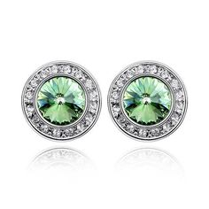 100% Original Crystals from Swarovski Round Crystal Stud Earrings 6 Colors for Women