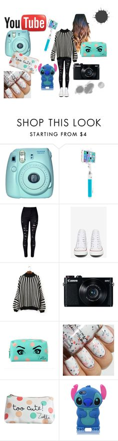 """""""YouTuber style"""" by elerinlaur ❤ liked on Polyvore featuring Fuji, Vivitar, Converse, Canon, women's clothing, women, female, woman, misses and juniors"""