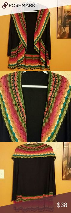 """Multi-color Crochet Edged Cardigan Beautiful dark blue cardigan with multi-color crochet hem.  Body is 55% cotton,  28% polyester, 15% rayon,  and 2% spandex.  Excellent condition.   No pulls or pills.  About 33"""" long. Double Zero Tops"""