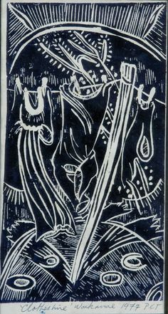Philip Clairmont - Clothesline Waikanae - Lino Print