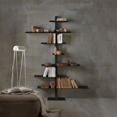 Love these sculptural steel shelving units that can be wall-mounted with a single screw. Comes in different finishes too - hope over to the blog to find out more.