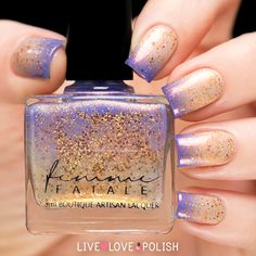 Femme Fatale End Of The Storm is a scattered holographic thermal polish that changes from nude when warm to purple when cold, with gold shimmer and microglitter Nail Polish Designs, Nail Designs, Grunge Nail Art, Youtube Nail Art, Thermal Nail Polish, Nails First, Nail Polish Collection, Dream Nails, Nail Art Hacks