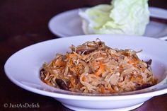 Jiu Hu Char (Jicama and Cuttlefish Stir Fry with Lettuce Wrap) | JustAsDelish.com