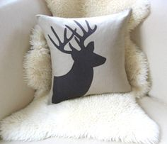 Deer Pillow Cover Stag Appliqué Silhouette Antlers by VixenGoods, $75.00