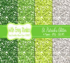 St. Patrick's Day Digital Scrapbook Paper Pack by WithEnvyPaper, $1.76