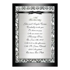 25th Anniversary vow renewal and party invitation. Elegant formal black and white damask border with satin-look ribbons. Image and illustration composition for elegant formal wedding, anniversary or engagement party Thank you card