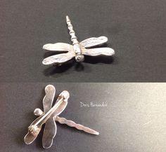Broche  libélula plata 950, ojos engaste Esmeralda