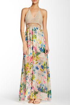 Whyte Eyelash Crochet Halter Printed Maxi Dress  