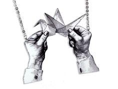 Acryl Kette Origami Illustration von Dear Prudence auf DaWanda.com