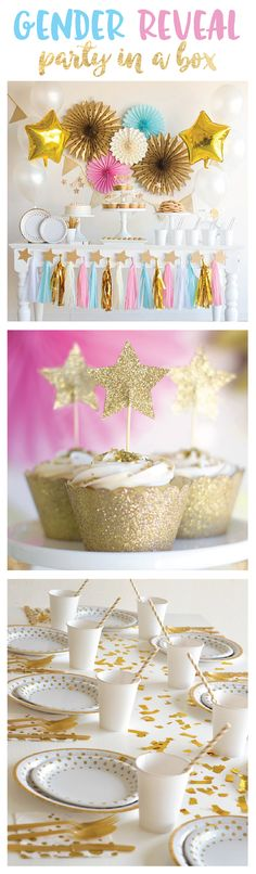 The complete gender reveal party in a box is here! These gender reveal decorations can help you build a beautiful twinkle twinkle little star party. Bash Kits has combined a complete collection of gender reveal party ideas into a single party theme package to create this gender neutral baby shower or reveal party. Gender Reveal Party, gender reveal ideas, gender reveal decorations, gender neutral baby shower, Party in a box, twinkle twinkle little star (affiliate)