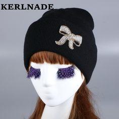 ff0c2dc84 US $4.71 24% OFF Wholesale women woman girl animal fur pompons brand winter  hat luxury rhinestone beauty beanie gorros fashion custom autumn hats-in ...