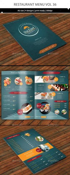 Japanese style Restaurant design for your business.- 4 page for menu template… Japanese style Restaurant design for your business.- 4 page for menu template size) – The design all have bleed, so it Restaurant Menu Card, Hotel Menu, Restaurant Menu Design, Cafe Menu, Restaurant Food, Weekly Menu Template, Flyer Template, Menu Templates, Print Templates
