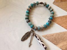Turquoise beaded bracelet with beaded feather and arrow detail *4th of July boho bundle*