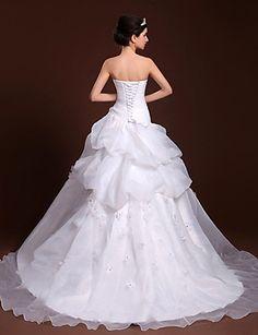 una línea de vestido de novia / princesa cariño tul palabra de longitud y satenes – MXN $ 5,072.83