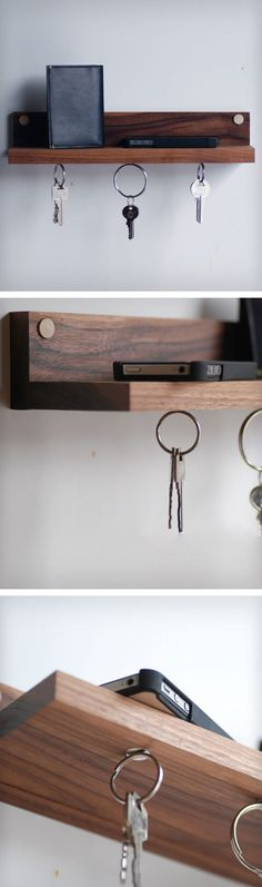 Magnetic wooden key shelf